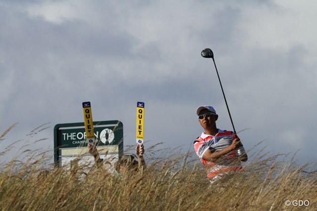2013年 全英オープン 初日 谷口徹 リンクスと戦う谷口徹(写真は2013年「全英オープン」)