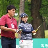 今週は辻村明志コーチがキャディを務める 2021年 KKT杯バンテリンレディスオープン 事前 小祝さくら