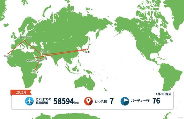 2021年 グラン・カナリアオープン 事前 川村昌弘マップ 日本向けの世界地図で見ると本当に西の端