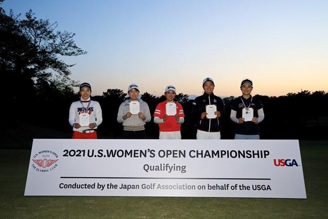 2021年 全米女子オープン予選 左から小暮千広、勝みなみ、三宅百佳、仲西菜摘、川満陽香理(提供:JGA)
