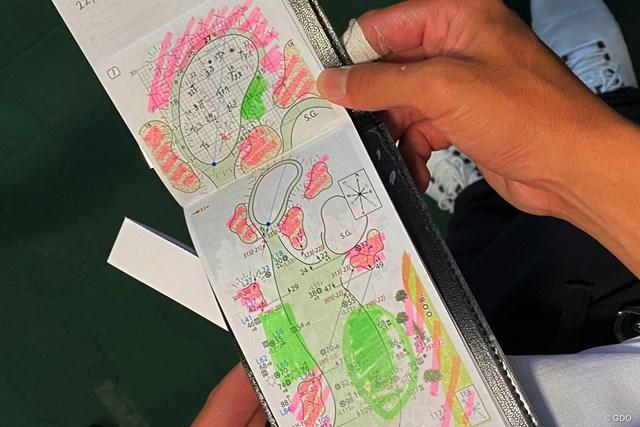 2021年 中日クラウンズ 3日目 中島啓太のコースメモ 中島啓太のコースメモ。赤いエリアは「行ってはいけないところ」