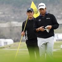 松山英樹を指導する目澤秀憲コーチ(左)とは 2021年 WGCデルテクノロジーズ マッチプレー 目澤秀憲 松山英樹