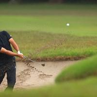 Hole18 par5 556yards  bunker shot 2021年 アジアパシフィックダイヤモンドカップゴルフ 初日 比嘉一貴