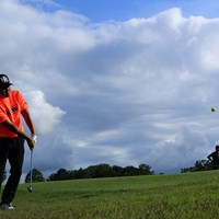 Hole18 par5 556yards approach shot. 2021年 アジアパシフィックダイヤモンドカップゴルフ 3日目 小田孔明