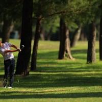 Hole18 par5 556yards  third shot 2021年 アジアパシフィックダイヤモンドカップゴルフ 3日目 木下稜介