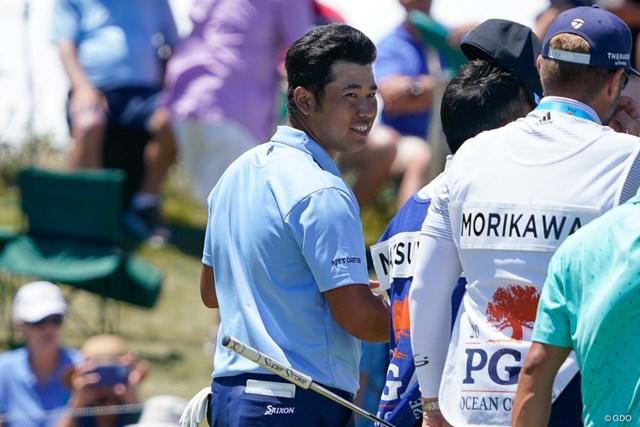 2021年 全米プロゴルフ選手権 初日 松山英樹 ホールアウト直後に松山英樹は笑顔を見せた(撮影/田邉安啓)