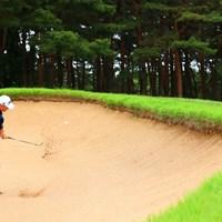 Hole10 par5 519yards bunker shot 2021年 ゴルフパートナー PRO-AMトーナメント 2日目 ブラッド・ケネディ