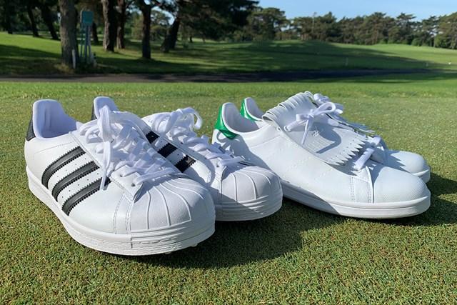 アディダスの名作シューズをゴルフ場で履いてみた オリジナルスSS ゴルフ(左)とスタンスミス ゴルフ(右)