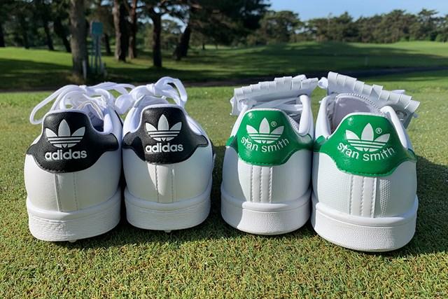 アディダスの名作シューズをゴルフ場で履いてみた オリジナルスSS ゴルフ(左)とスタンスミス ゴルフ(右)のヒール