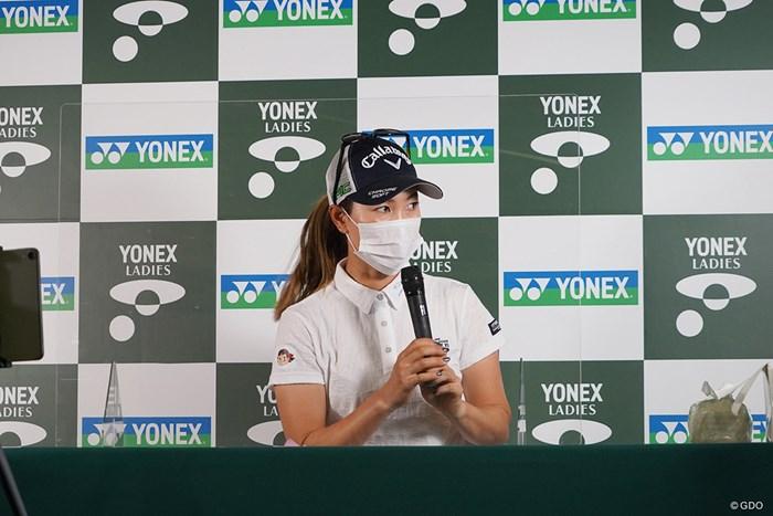 開幕前日に会見した前回大会覇者の上田桃子 2021年 ヨネックスレディスゴルフトーナメント 事前 上田桃子