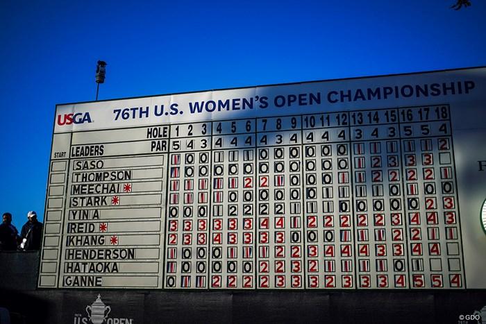 リーダーボードのトップに笹生優花の名前が 2021年 全米女子オープン 初日 全米女子オープン