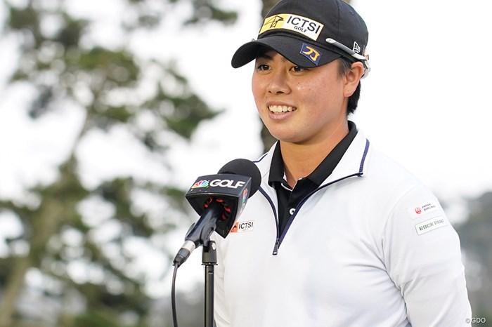 ゴルフチャンネルのインタビューを受ける 2021年 全米女子オープン 2日目 笹生優花