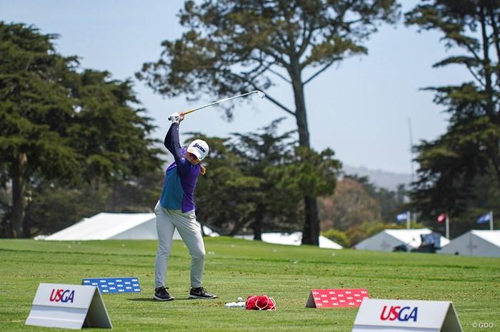 練習場にてひたすらボールを打ち込む 2021年 全米女子オープン 3日目 勝みなみ
