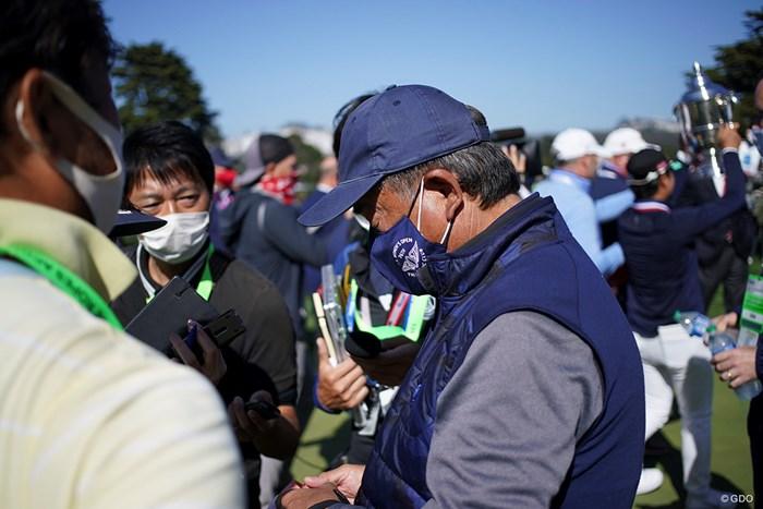父正和さんの囲み取材 2021年 全米女子オープン 最終日 笹生優花
