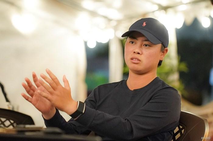 独占インタビューで前日の試合を解説する笹生優花 2021年 全米女子オープン  最終日 笹生優花