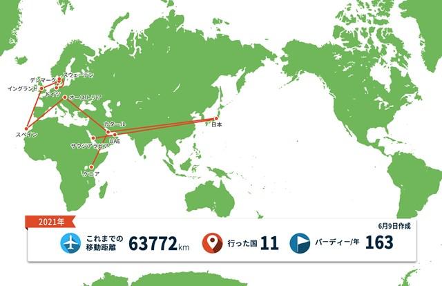 2021年 スカンジナビア・ミックス Hosted by ヘンリック&アニカ 事前 川村昌弘マップ 欧州での車旅も世界地図にするとわずかな距離?