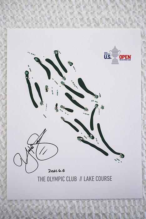 コース図に入った笹生優花のサイン 2021年 全米女子オープン 4日目 笹生優花