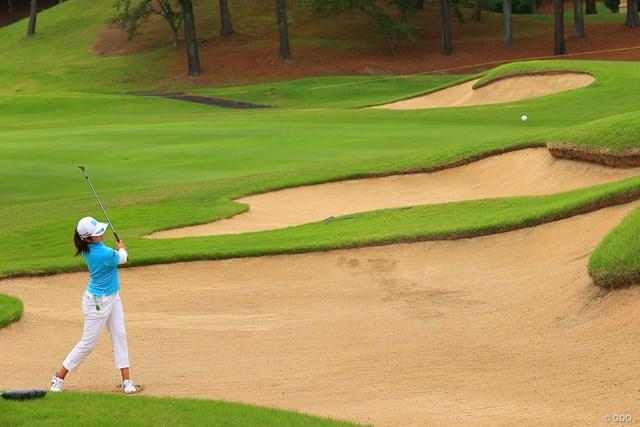2021年 宮里藍サントリーレディスオープンゴルフトーナメント 最終日 稲見萌寧 Hole9 par4 391yards bunker shot