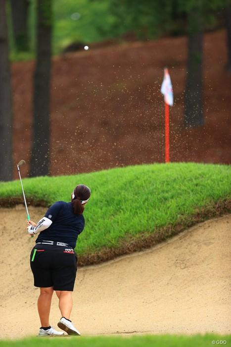 Hole1 par5 486yards bunker shot 2021年 宮里藍サントリーレディスオープンゴルフトーナメント  最終日 酒井美紀