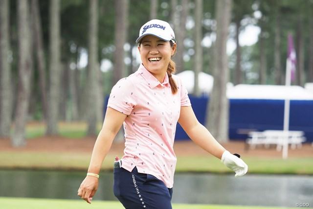 2021年 KPMG全米女子プロゴルフ選手権 事前 畑岡奈紗 練習ラウンドで笑顔を見せる