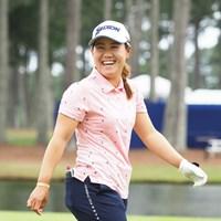 練習ラウンドで笑顔を見せる 2021年 KPMG全米女子プロゴルフ選手権 事前 畑岡奈紗