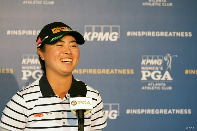 2021年 KPMG全米女子プロゴルフ選手権 事前 笹生優花 インタビューに応える笹生優花