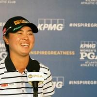インタビューに応える笹生優花 2021年 KPMG全米女子プロゴルフ選手権 事前 笹生優花