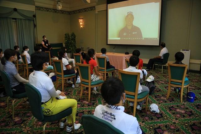 2021年 ダンロップ・スリクソン福島オープン 3日目 松山英樹ジュニアインビテーション 松山英樹がジュニア選手にビデオメッセージを寄せた(大会提供)
