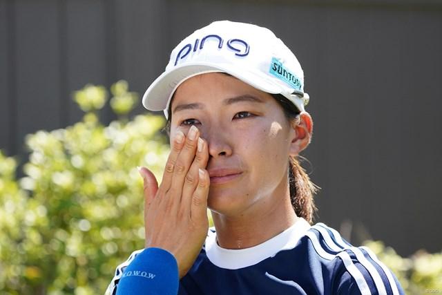 2021年 KPMG全米女子プロゴルフ選手権 3日目 渋野日向子 試合後のインタビュー中に涙をこぼした渋野日向子