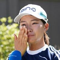 試合後のインタビュー中に涙をこぼした渋野日向子 2021年 KPMG全米女子プロゴルフ選手権 3日目 渋野日向子