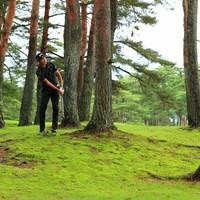 Hole9 par5 513yards second shot 2021年 日本プロゴルフ選手権大会 初日 星野陸也