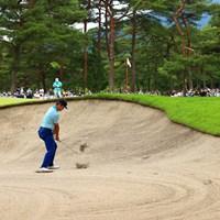 hole2 par4 468yards bunker shot 2021年 日本プロゴルフ選手権大会 3日目 芦沢宗臣