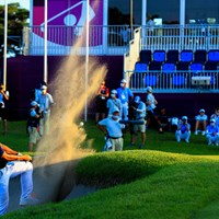 Play off 2nd time hole18 par4 500yards bunker shot 2021年 東京五輪 最終日 コリン・モリカワ
