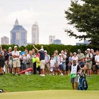 スピースは18番でグリーンを外したものの、チップを寄せきってコース記録タイ(Tracy Wilcox/PGA TOUR via Getty Images) 2021年 ザ・ノーザントラスト 2日目 ジョーダン・スピース