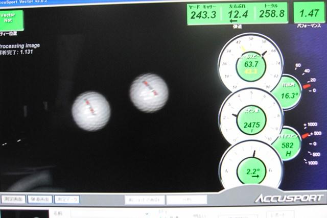 弾道測定器で計測開始。直進性が高く、低スピン弾道が打ちやすい