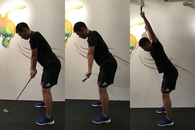 肩回りストレッチ 前傾姿勢をキープするのがポイント