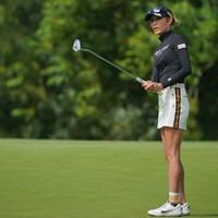 左足首のテーピングが痛々しい 2021年 ニトリレディスゴルフトーナメント 初日 金田久美子