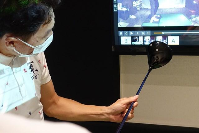 シャットフェースはやりすぎに注意 ヘッドを体の正面に上げた状態でグリップを決める