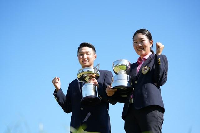 2021年 日本学生ゴルフ 最終日 平田憲聖 星川ひなの 2021年度の日本学生を制した大阪学院大の平田憲聖(左)と日大の星川ひなの(提供:JGA)