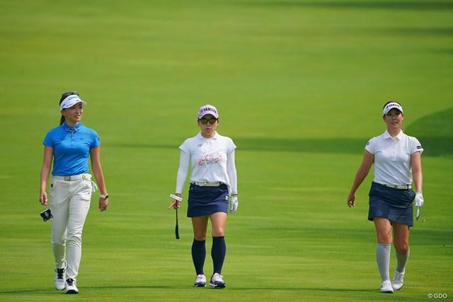 2021年 ニトリレディスゴルフトーナメント 3日目 第10組 誰にも邪魔されず3人一緒に撮れるって、意外となかなかないんです。