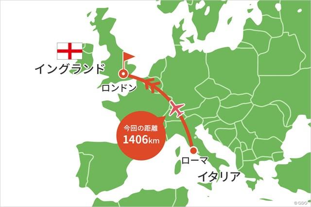 2021年 BMW PGA選手権  事前 川村昌弘マップ ローマからはロンドンに直行便で