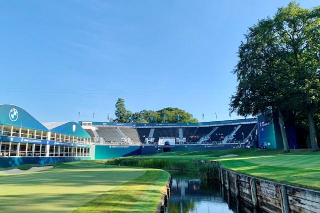 2021年 BMW PGA選手権 事前 ウェントワースGC 18番ホールの巨大なスタンド!欧州ツアーの旗艦大会です