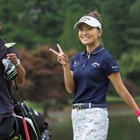 「元気ですよ!」とピース 2021年 日本女子プロゴルフ選手権大会コニカミノルタ杯 事前 藤田光里
