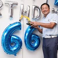 66歳の誕生日を迎えた倉本昌弘(※大会提供) 2021年 コマツオープン2021 初日 倉本昌弘
