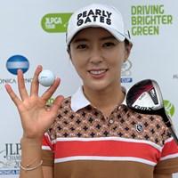 8番(パー3実測222yd)でユン・チェヨンが日本では初のホールインワン「縁起がいいので保管します」(大会提供) 2021年 日本女子プロゴルフ選手権大会コニカミノルタ杯  最終日 ユン・チェヨン
