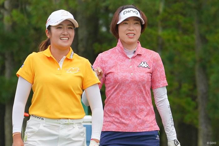 オリンピアンの2人。2人とも本当に楽しそうな18ホールでしたね。 2021年 日本女子プロゴルフ選手権大会コニカミノルタ杯 最終日 稲見萌寧 大山志保