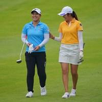 ラウンド中に笑顔も見せた西郷真央は悔しい2位 2021年 日本女子プロゴルフ選手権大会コニカミノルタ杯  最終日 西郷真央