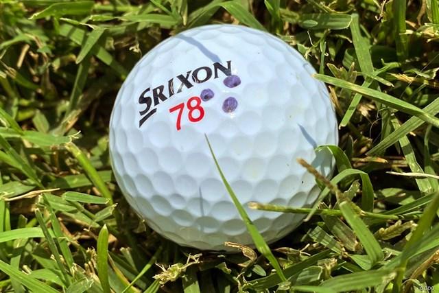 2022年 フォーティネット選手権 事前 松山英樹のボール 松山英樹が使用するボール。「78」には思い入れが