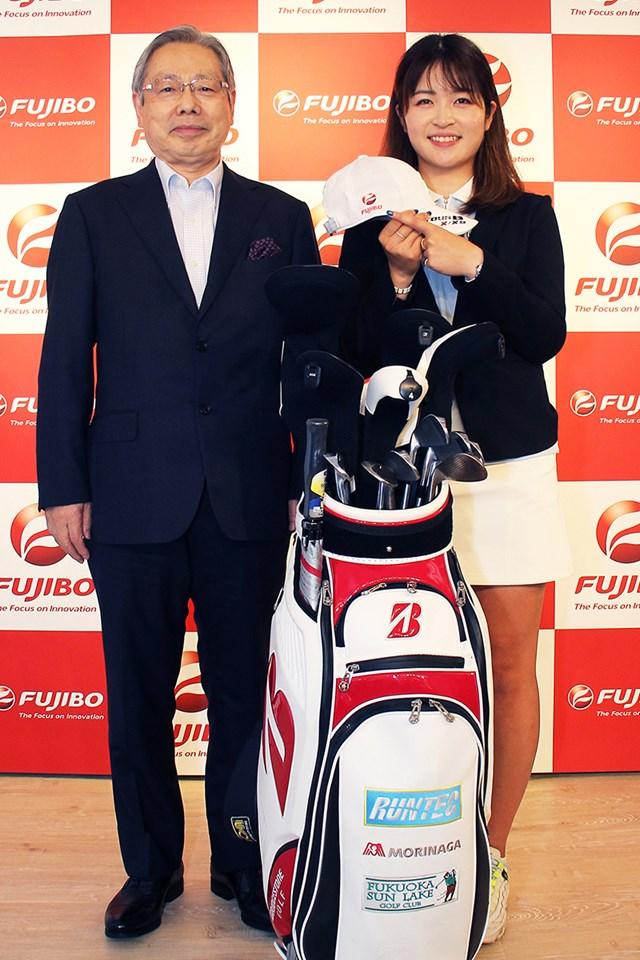 2021年 日本女子オープンゴルフ選手権 事前 三ヶ島かな 三ヶ島かながスポンサー契約(提供:富士紡ホールディングス)
