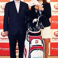 三ヶ島かながスポンサー契約(提供:富士紡ホールディングス) 2021年 日本女子オープンゴルフ選手権 事前 三ヶ島かな